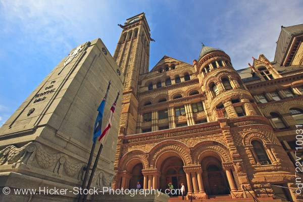 Stock photo of Architecture Cenotaph Old City Hall Blue Sky Downtown Toronto Ontario Canada
