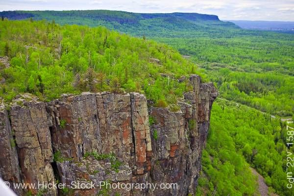 Stock photo of Cliff Face Showing Columns of Rock Lake Superior near Thunder Bay in Ontario Canada