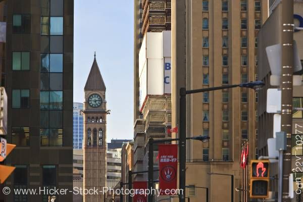 Stock photo of Downtown Toronto Clock Tower Old City Hall Blue Sky Lake Ontario Canada