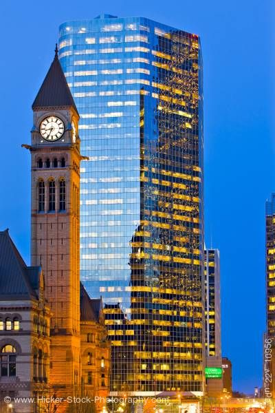 Stock photo of Old City Hall Modern Building Toronto dusk
