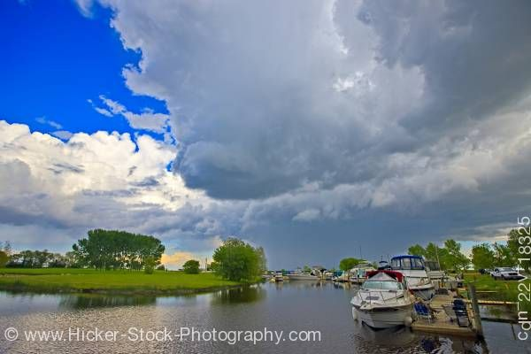 Stock photo of Clouds threatening Winnipeg Beach marina Lake Winnipeg in the town of Winnipeg Beach Manitoba Canada