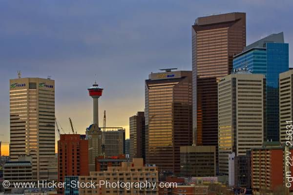 Stock photo of Calgary Tower And Commercial High Rise Buildings With Cloudy Sky City Of Calgary Alberta Canada