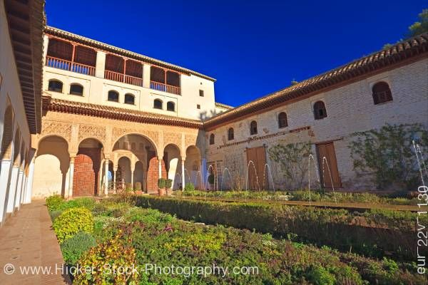 Stock photo of Northern Portico Court of Long Pond Patio de la Acequia Generalife Alhambra