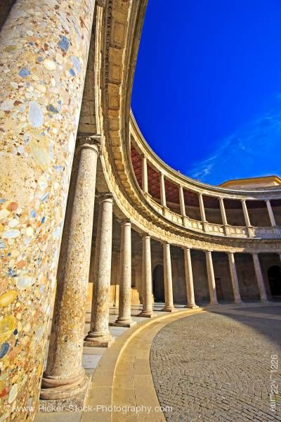 Stock photo of Courtyard of Palace of Charles V Granada Andalusia Spain