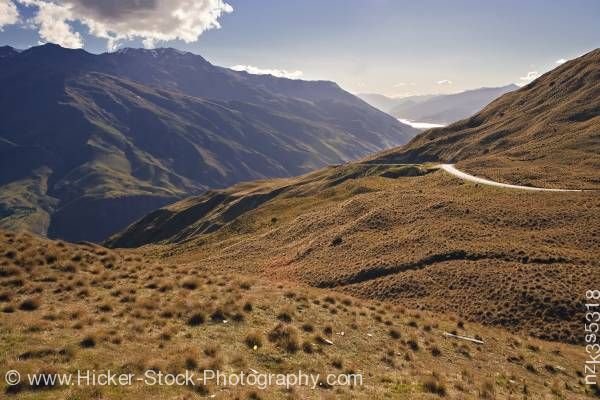 Stock photo of Crown Range Road between Wanaka and Queenstown Central Otago South Island New Zealand