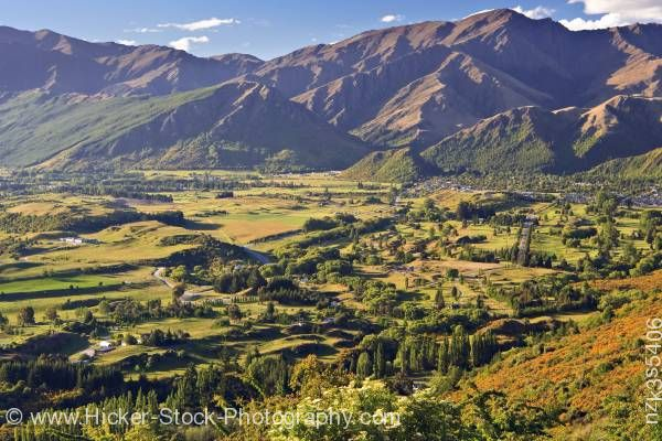 Stock photo of The end of the Crown Range Road looking towards Arrowtown Central Otago South Island New Zealand