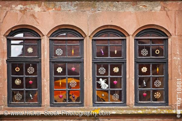 Stock photo of Decorated windows building Burg Ronneburg Hessen Germany