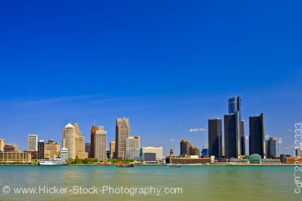 Cityscape Skyline Detroit Michigan Usa