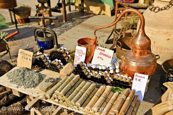 Stock photo of Distillery at market stall in Plaza de la Corredera City of Cordoba Province of Cordoba Andalusia
