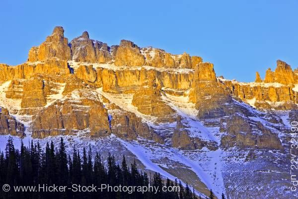 Stock photo of Dolomite Peak Sunset Banff National Park Alberta Canada