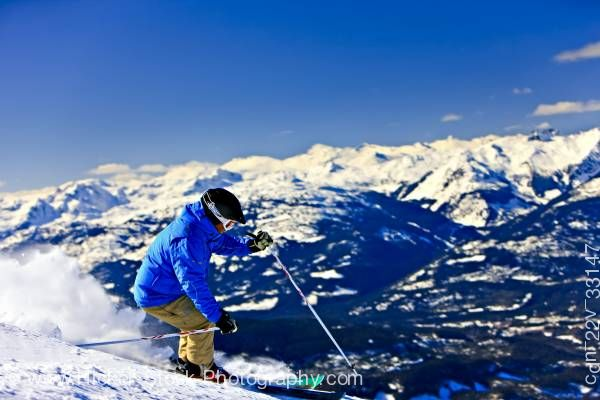 Stock photo of Downhill Skiing Whistler Mountain Whistler Blackcomb Whistler British Columbia Canada