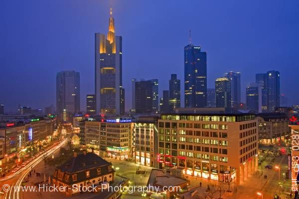 Stock photo of Night life downtown activity Frankfurt at dusk Hessen Germany