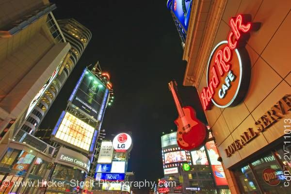 Stock photo of Eaton Centre Yonge Dundas Square Night Downtown Toronto Ontario Canada