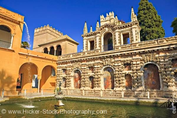 Stock photo of Estanque de Mercurio Reales Alcazares Santa Cruz District City of Sevilla Spain