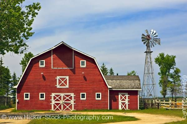 Stock photo of Farm Barn at Mennonite Heritage Village in Steinbach Manitoba Canada