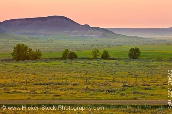 Stock photo of Farmland in the Big Muddy Badlands at sunset Southern Saskatchewan Canada