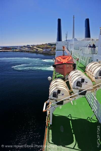 Stock photo of Life Rafts M/V Caribou Port aux Basques Newfoundland Canada