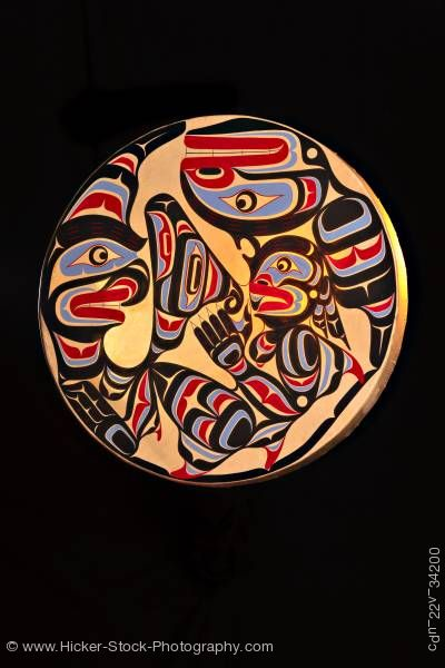 Stock photo of Native Art Wooden Drum First Nations Native Art  Northern Vancouver Island British Columbia