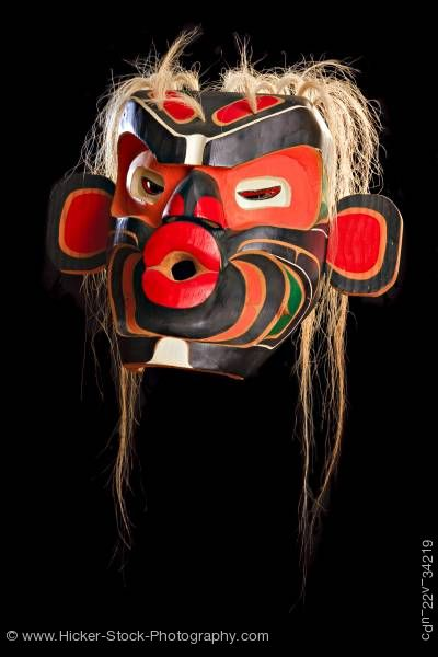 Stock photo of Mask Native First Nations Art Just Art Gallery Northern Vancouver Island British Columbia Canada
