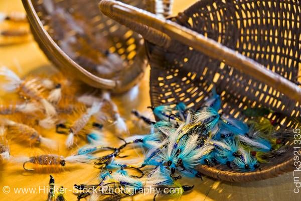 Stock photo of Fly fishing flies Rifflin' Hitch Lodge Labrador Newfoundland