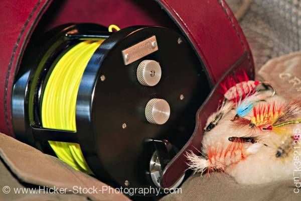 Stock photo of Fly fishing reel flies