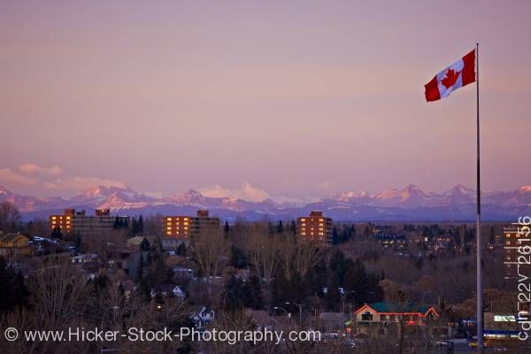 Stock photo of Canadian flag city of Calgary background Canadian Rocky Mountains Alberta