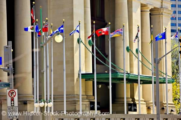 Stock photo of Provincial Territorial Flags of Canada Government Conference Centre Ottawa