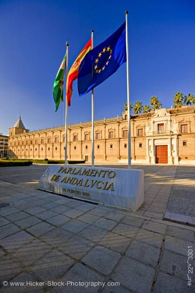 Stock photo of Flags Parlamento de Andalvcia Macarena District City of Sevilla  Province of Sevilla Andalusia Spain