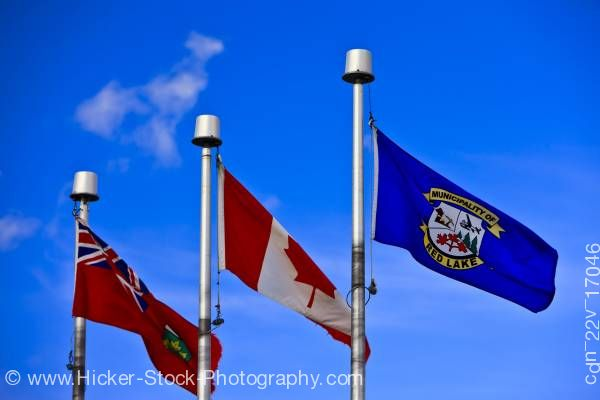 Stock photo of Flags Red Lake Ontario and Canada