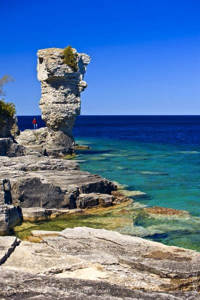 Stock photo of Sea Stack of Flowerpot Island in the Fathom Five National Marine Park Lake Huron Ontario