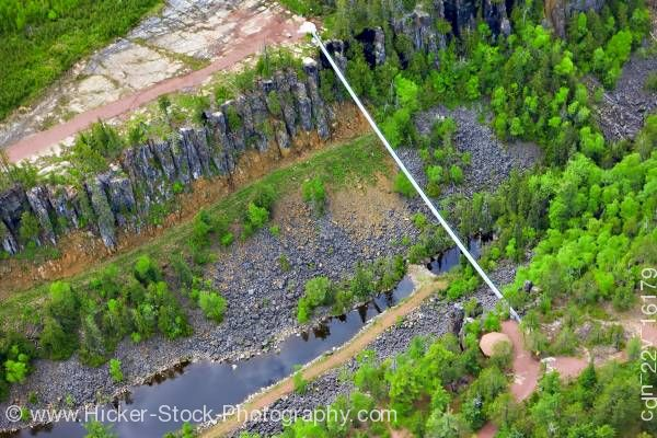 Stock photo of Aerial View Foot Suspension Bridge Spanning Eagle Canyon Ontario Canada