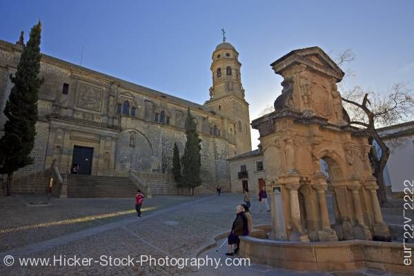 Stock photo of Fuente de Santa Maria Cathedral of Baeza Town of Baeza Province of Jaen Andalusia Spain Europe
