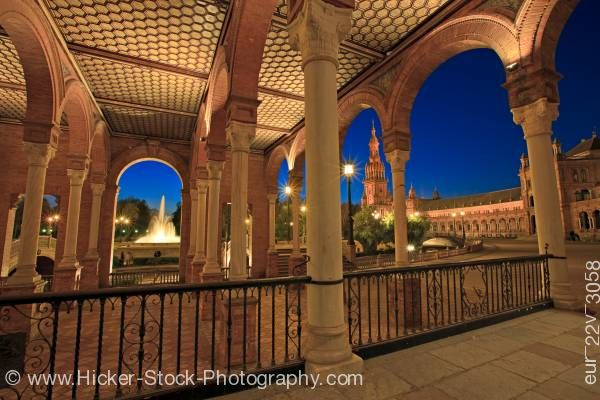 Stock photo of Architecture Fountain Plaza de Espana Parque Maria Luisa in the City of Sevilla Andalusia