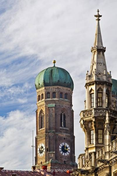 Stock photo of Towers of Frauenkirche Cathedral Neues Rathaus city hall City of Munich Bavaria Germany Europe