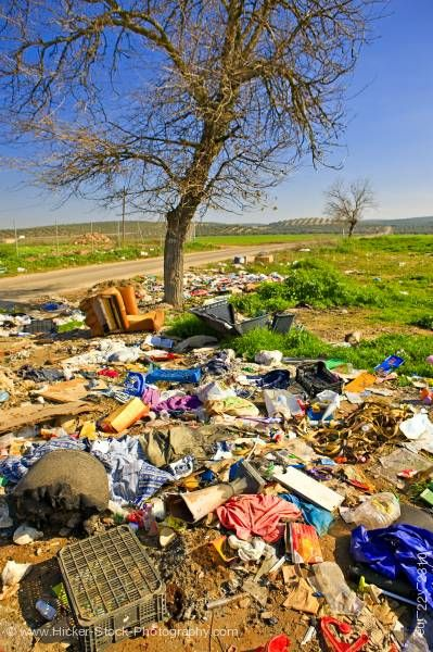 Stock photo of Garbage pollution along country road Province of Jaen Andalusia (Andalucia) Spain Europe