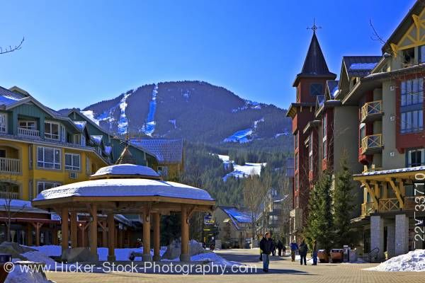 Stock photo of Gazebo Town Plaza Village Stroll Whistler Mountain Whistler Village British Columbia Canada