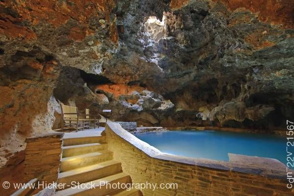 Stock photo of Geothermal hot springs cave Basin National Historic Site Sulphur Mountain, Banff National Park