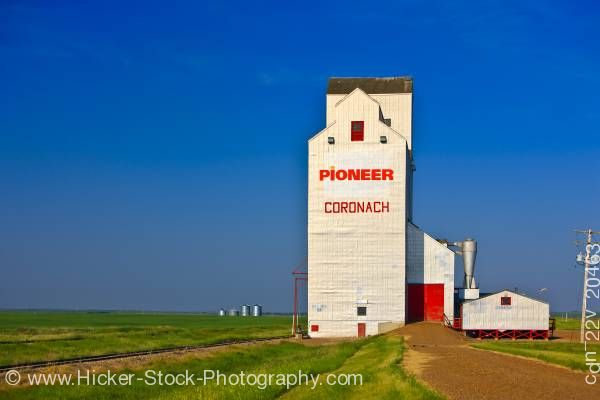 Stock photo of Grain elevator in town of Coronach in Big Muddy Badlands region of Southern Saskatchewan Canada