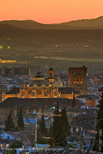 Stock photo of Granada Cathedral dusk in City of Granada Province of Granada Andalusia Spain Europe