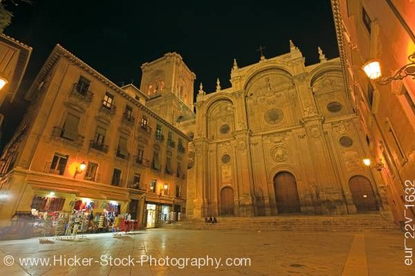 Stock photo of Cathedral facade on Plaza de las Pasiegas at night in city of Granada Province of Granada Andalusia