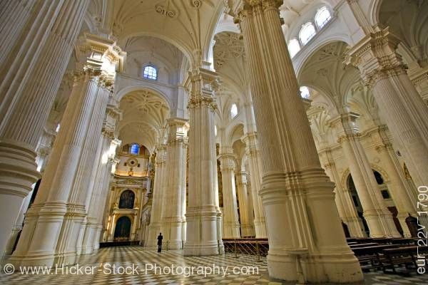 Stock photo of Columns and ceiling of Granada Cathedral City of Granada Province of Granada Andalusia Spain