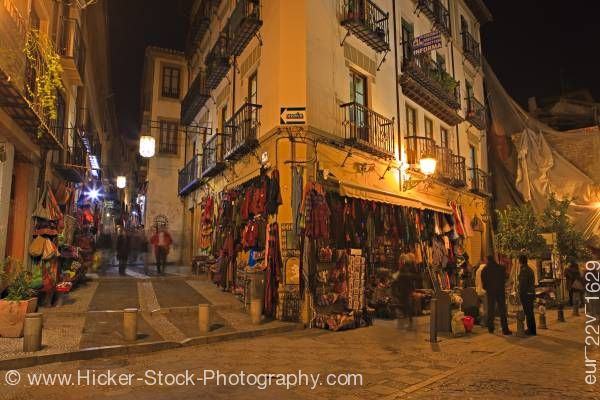 Stock photo of Souvenir Shops Calle Caldereria Nueva City of Granada Province of Granada Andalusia Spain
