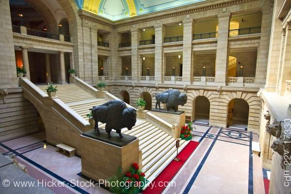 Stock photo of Grand Staircase American Bison Statues Legislative Building City of Winnipeg Manitoba