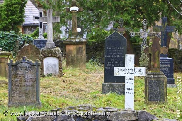 Stock photo of Graves headstones Hessenpark Hesse Germany