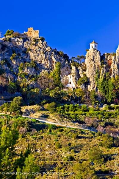Stock photo of Castle ruins church belfry town of Guadalest Costa Blanca Province of Alicante Comunidad Valenciana