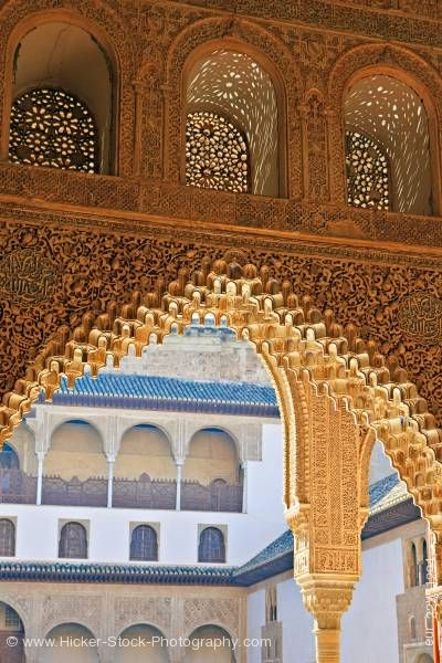 Stock photo of Archway and spandrels details of Hall of the Boat The Royal House La Alhambra City of Granada