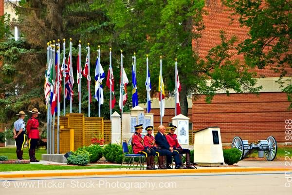Stock photo of Hierarchy in front of monument during parade RCMP Academy City of Regina Saskatchewan Canada