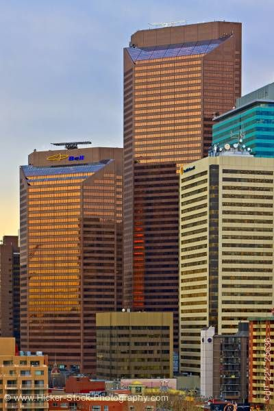 Stock photo of City Of Calgary Modern Geometric Commercial High Rise Buildings Alberta Canada