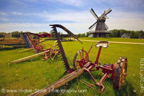 Stock photo of Historic Farm equipment Mennonite Heritage Village Steinbach Manitoba Canada