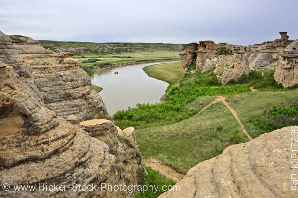 Stock photo of Milk River Hoodoos Writing on Stone Alberta Canada